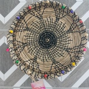 NWT Decorative Woven Basket Beaded Tray